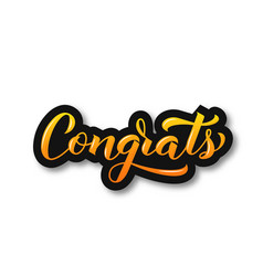 Congrats 3d calligraphy lettering isolated on vector