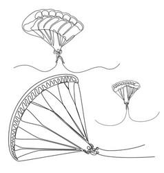 continuous line set parachutist skydivers vector image