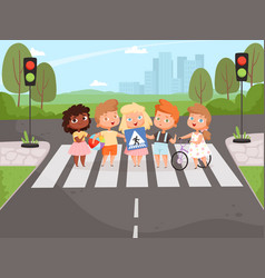 crossroad rulles children learning safety road vector image