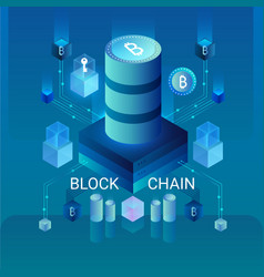 cryptocurrency and blockchain concept data vector image