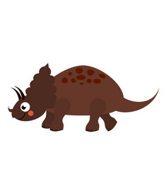Cute dinosaur cartoon dino character triceratops vector