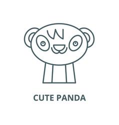 cute panda line icon cute panda outline vector image