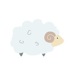 cute sheep in flat style cute domestic animals vector image