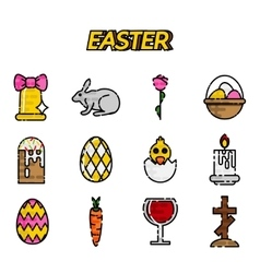 Easter flat styled icons set over white vector