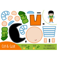 Education paper game for children asian boy vector