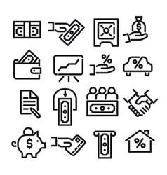 financial icon set vector image