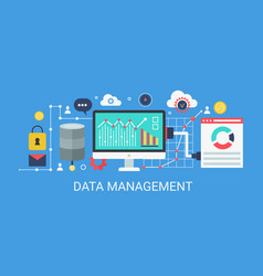 Flat modern concept data management banner vector