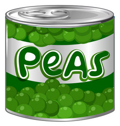 Fresh peas in aluminum can vector