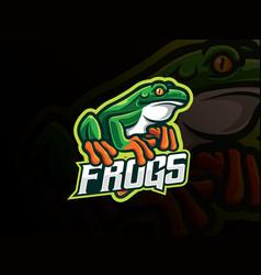 Frog mascot sport logo design vector