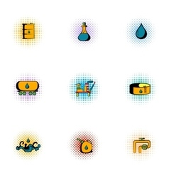 Gasoline icons set pop-art style vector
