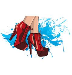 Girls in high heels fashion vector