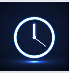 glowing neon clock with arrow icon symbol vector image