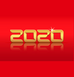 gold 2020 year with reflection vector image