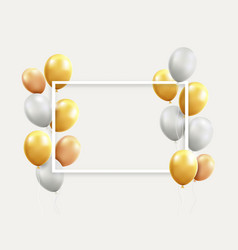 gold and white balloons with frame vector image