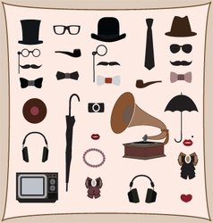 Hipster retro style set vector