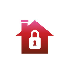 Home with lock icon security protection sign vector