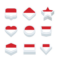 Indonesia flags icons and button set nine styles vector