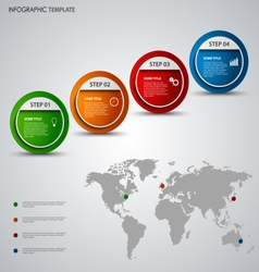 Info graphic with round pointers and world map vector