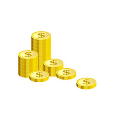 Isometric gold coins of dollars in pile isolated vector