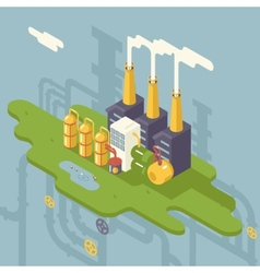 Isometric Retro Flat Factory Refinery Plant vector