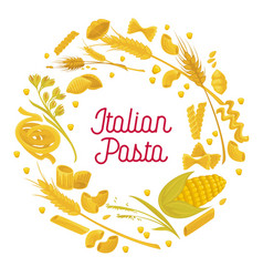 italian pasta and wheat durum cereal flour vector image