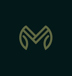 letter m with leaf logo design template vector image