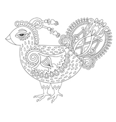 Line art cock drawing for coloring book page joy vector