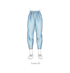 Loose fit style jeans female denim pants vector