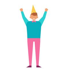Man celebrate birthday party in festive cap vector
