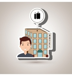 Man hotel building service vector