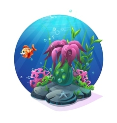 Marine life on the sandy bottom of the ocean vector image