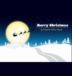 merry christmas with santa silhouette on moon vector image