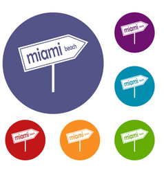 Miami arrow post sign icons set vector