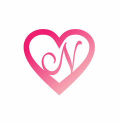 n letter in pink love sign logo vector image