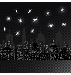 Night cityscape with glowing light stars vector