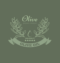 olive oil package design for label with vintage vector image