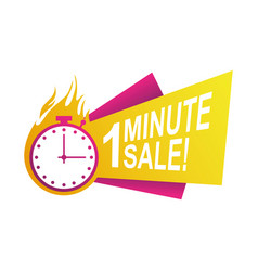 One minute sale countdown badge with chronometer vector
