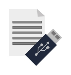 Paper document and usb drive icon vector