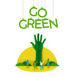 People with paper cut tree for environment help vector