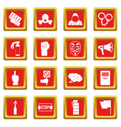 Protest icons set red vector