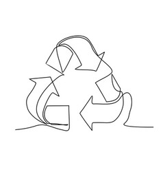recycle sign one line drawing vector image