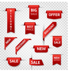 red ribbon labels big sale new offer vector image