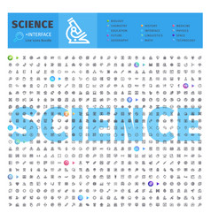 science thematic collection line icons vector image