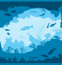 Seamless pattern with fish and corals silhouettes vector