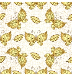 Seamless white pattern with gold butterflies vector image