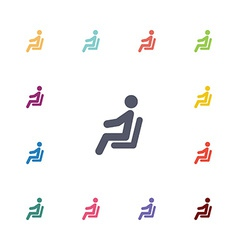 seating man flat icons set vector image