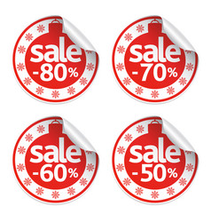 Set new year sale stickers vector