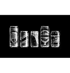 Set of beverage cans vector