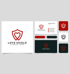 Shield and love logo template line style vector