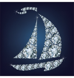 Ship made up a lot of diamonds vector image